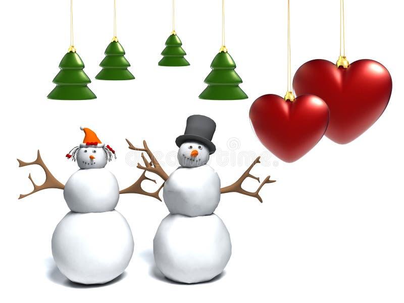 Bonhomme de neige et femme de neige avec un coeur illustration stock
