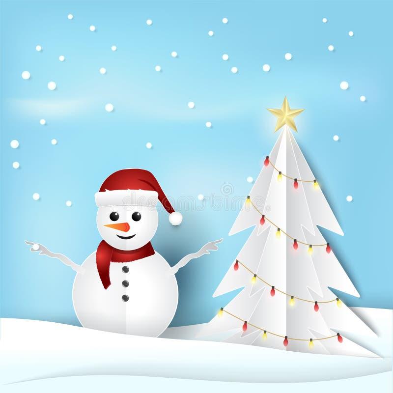 Bonhomme de neige et pin de saison de Noël avec l'ampoule illustration de vecteur