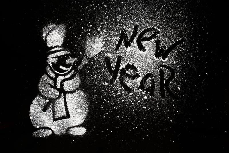 Bonhomme de neige fond noir de dessin illustration stock - Dessin fond noir ...