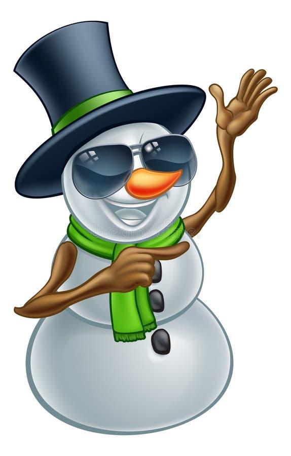 Bonhomme de neige frais de Noël dans les lunettes de soleil ou les nuances illustration stock