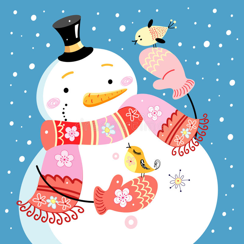 Bonhomme de neige gai illustration de vecteur