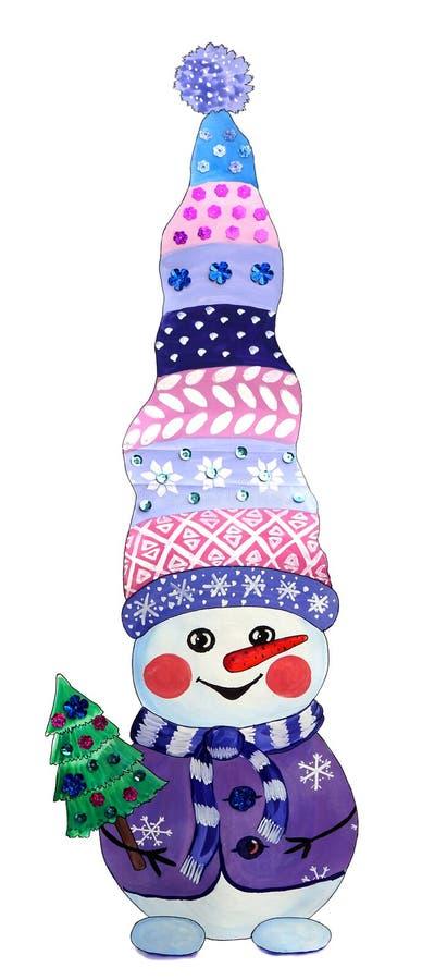 Bonhomme de neige gai dans un chapeau tricoté portant un arbre de Noël illustration libre de droits