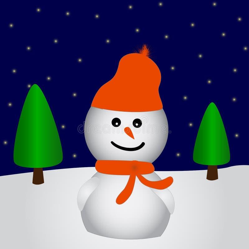 Bonhomme de neige heureux illustration de vecteur