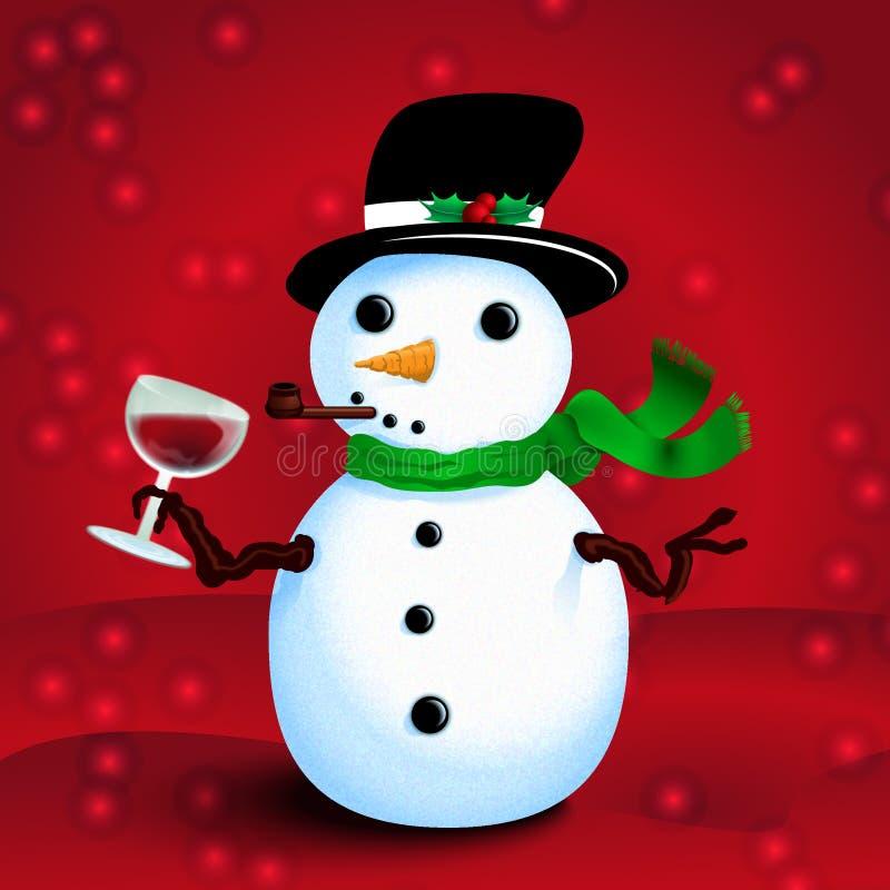Bonhomme de neige ivre illustration de vecteur