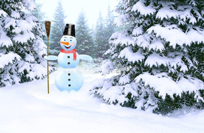 Bonhomme de neige joyeux dans la soirée du Nouveau an de forêt d'hiver Bonhomme de neige fabuleux fait dans la forêt photo stock