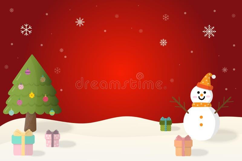 Bonhomme de neige de Joyeux Noël et de bonne année, arbre de Noël et cadeau de Noël en hiver sur le fond rouge illustration de vecteur