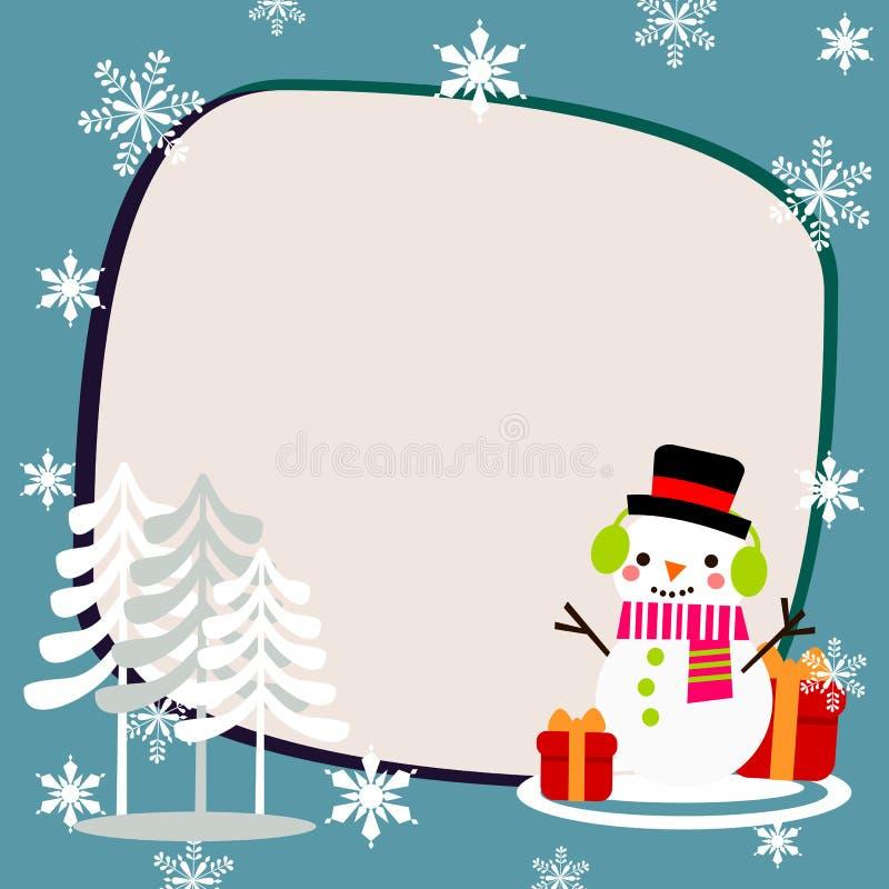 Bonhomme de neige mignon à l'arrière-plan de saison de Noël illustration stock