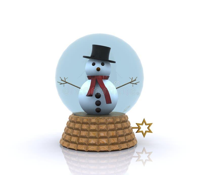 Bonhomme de neige mignon à l'intérieur d'une sphère en verre illustration de vecteur
