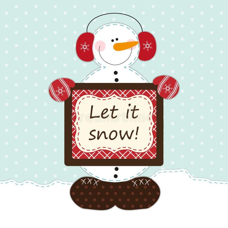 Bonhomme de neige mignon avec le grand coeur en tant que rétro applique de tissu dans le style chic minable illustration libre de droits
