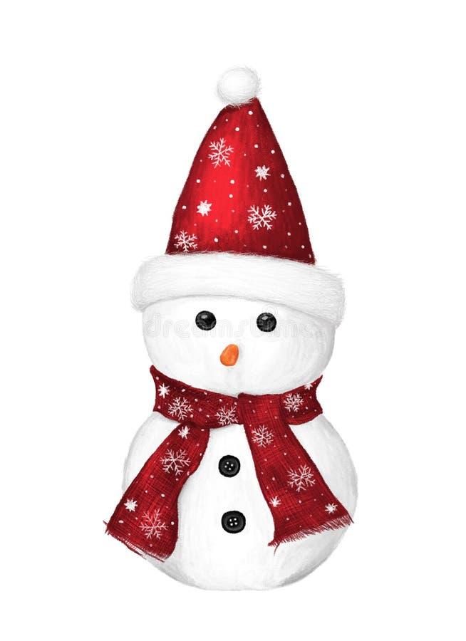 Bonhomme de neige mignon d'isolement sur le fond blanc, illustration peinte à la main, conception d'hiver illustration libre de droits