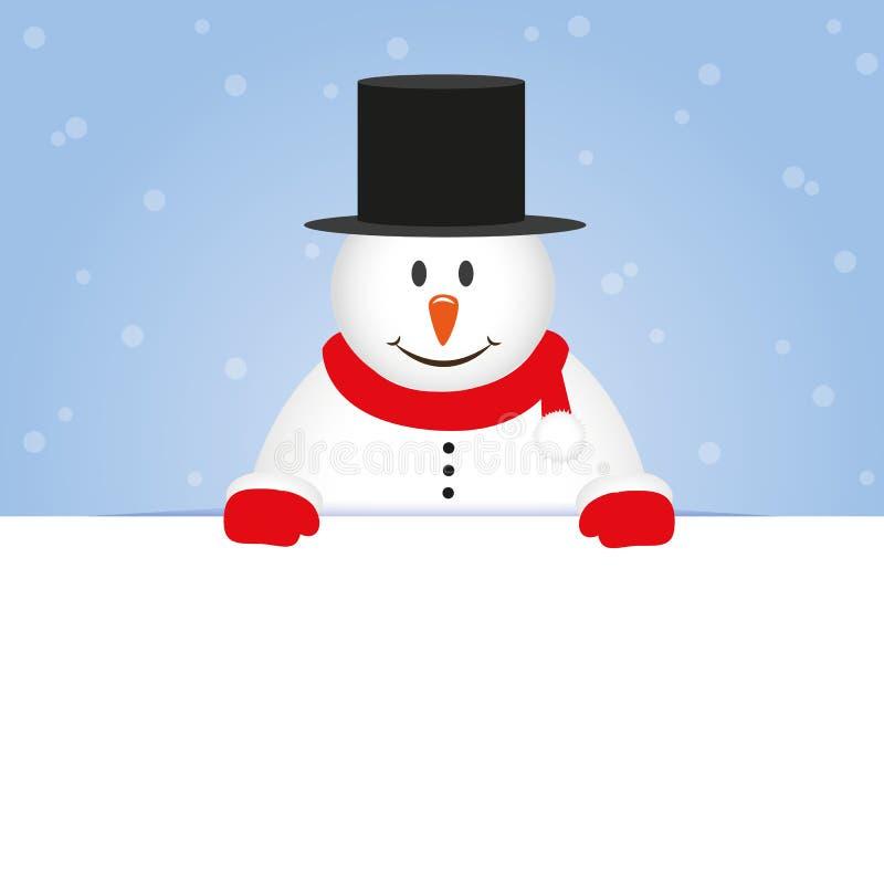 Bonhomme de neige mignon heureux sur le fond neigeux bleu illustration libre de droits