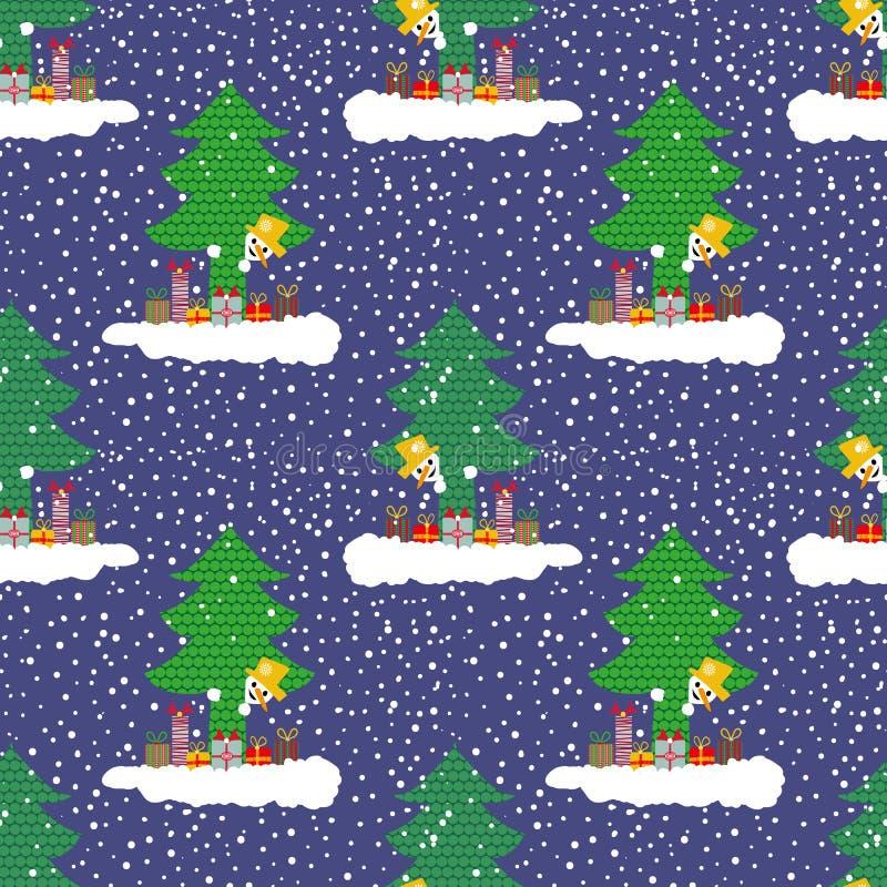 Bonhomme de neige mignon tiré par la main sur un nuage avec des cadeaux jetant un coup d'oeil par derrière un arbre de Noël Modèl illustration libre de droits