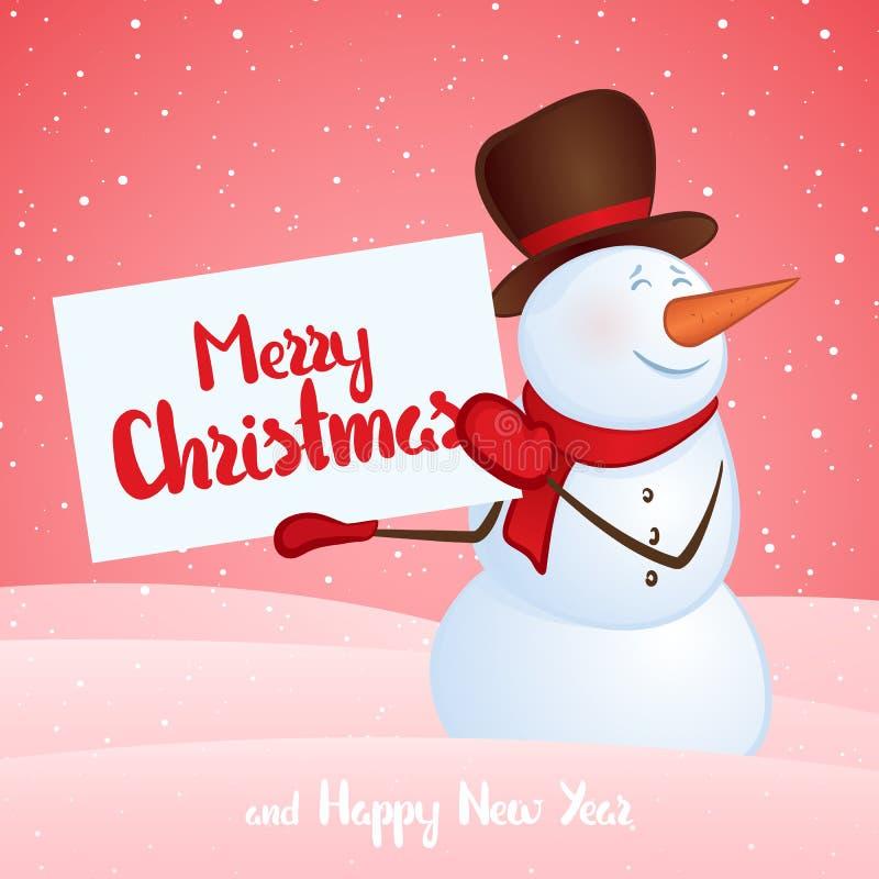 Bonhomme de neige de sourire d'hiver avec la bannière dans des mains sur le fond de congère Joyeux Noël et bonne année illustration stock