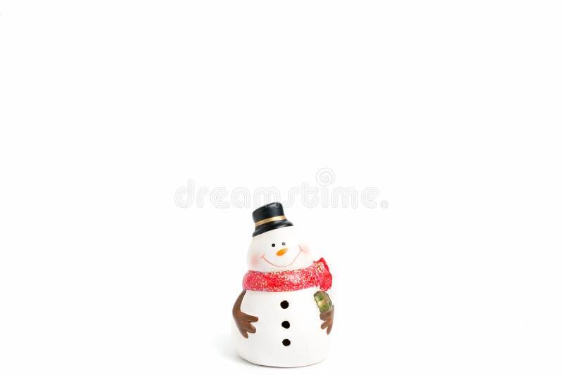 Bonhomme de neige sur le fond blanc photographie stock