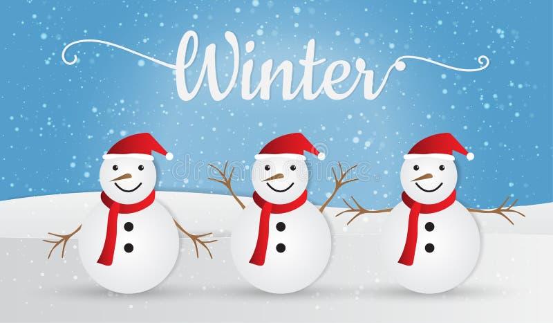 Bonhomme de neige sur le fond d'hiver, Joyeux Noël Illustration de vecteur image libre de droits