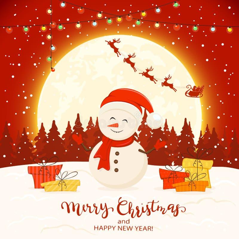 Bonhomme de neige sur le fond rouge d'hiver avec des cadeaux et des lumières de Noël illustration libre de droits