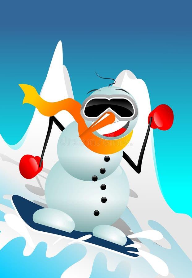 Bonhomme de neige sur le surf des neiges illustration stock