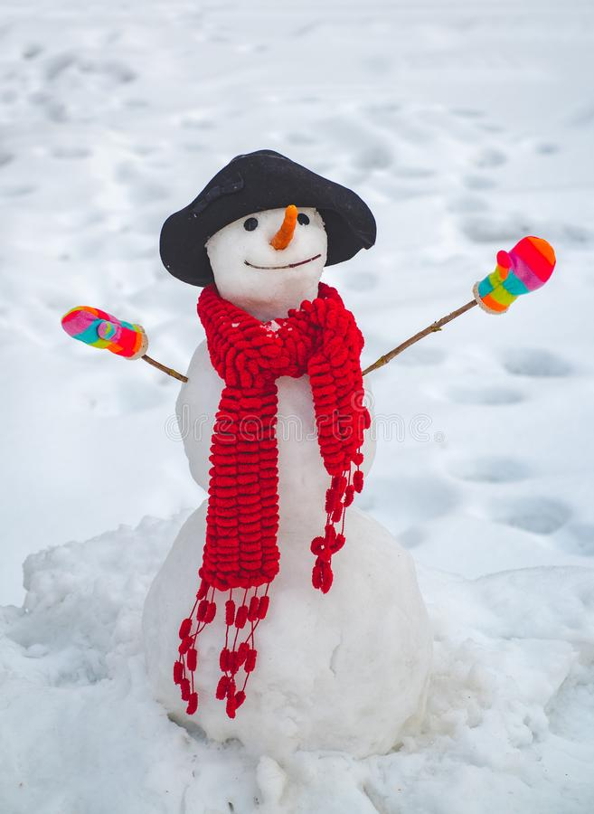 Bonhomme de neige sur les branches couvertes de neige d'un sapin de fond r Bonhomme de neige mignon ? un village neigeux heureux images stock