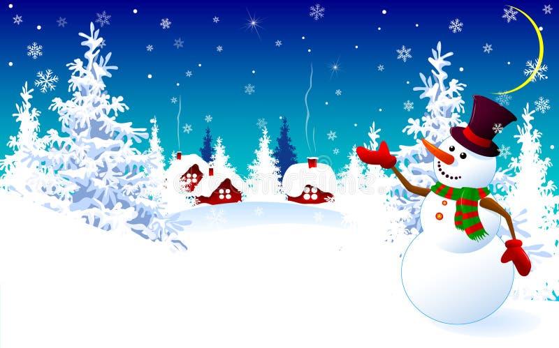 Bonhomme de neige sur un fond d'hiver, carte de voeux illustration de vecteur