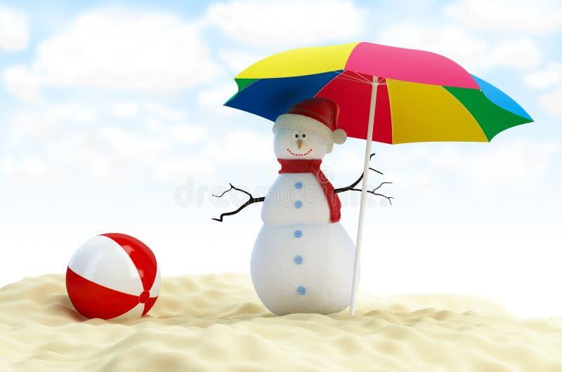 Bonhomme de neige sur une plage illustration de vecteur