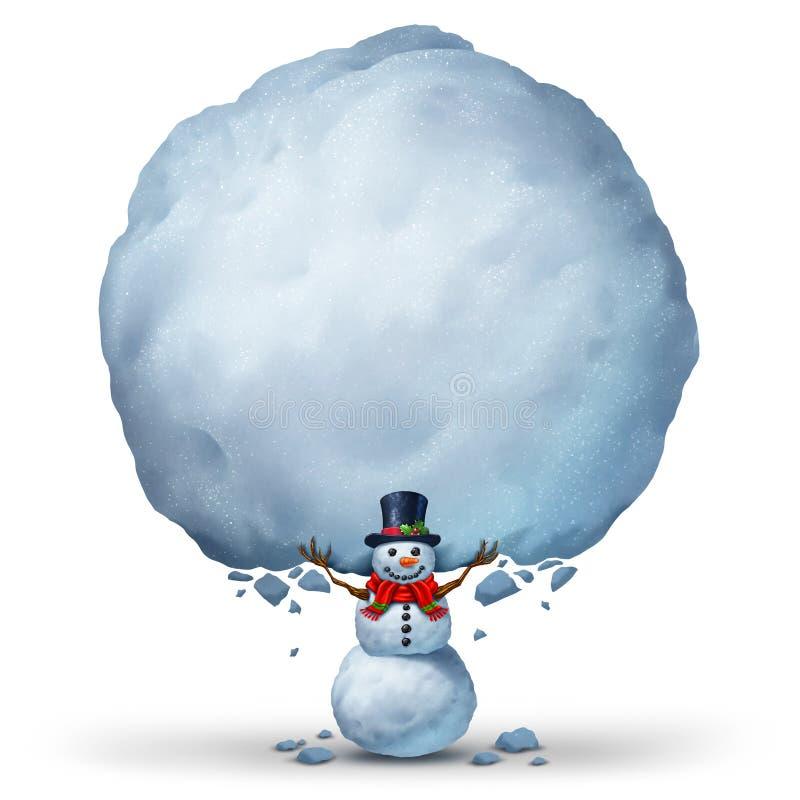 Bonhomme de neige tenant le signe de neige illustration de vecteur