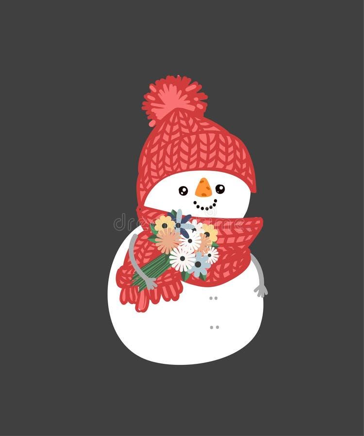 Bonhomme de neige de vacances d'hiver Bonhommes de neige gais dans différents costumes Chef, magicien, bonhomme de neige avec la  illustration libre de droits