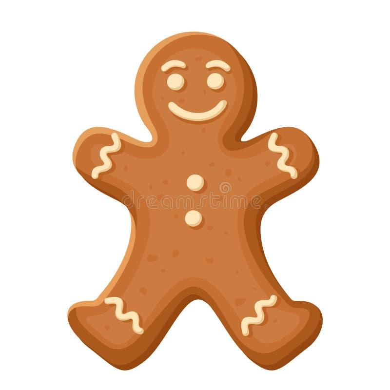 Bonhomme en pain d'épice Biscuit de Noël de vecteur illustration stock