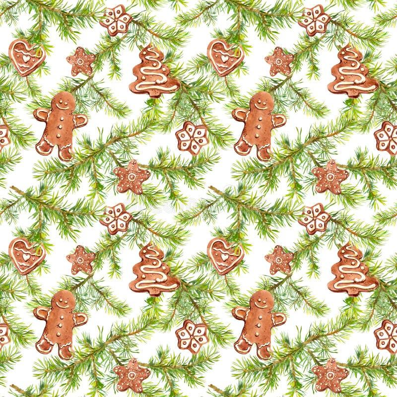 Bonhomme en pain d'épice, biscuits et branches d'arbre de sapin Configuration sans joint pour la conception de Noël watercolor illustration libre de droits