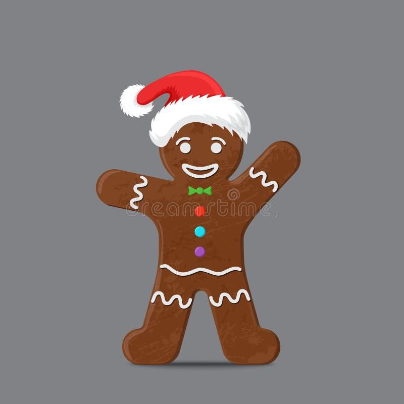 Bonhomme en pain d'épice dans le chapeau de Noël illustration libre de droits