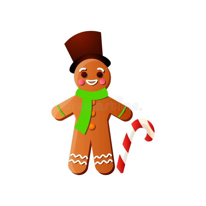 Bonhomme en pain d'épice de sourire de Noël avec le bâton de chapeau supérieur et de sucrerie illustration libre de droits