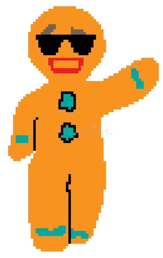 Bonhomme en pain d'épice dessiné en pixels illustration stock