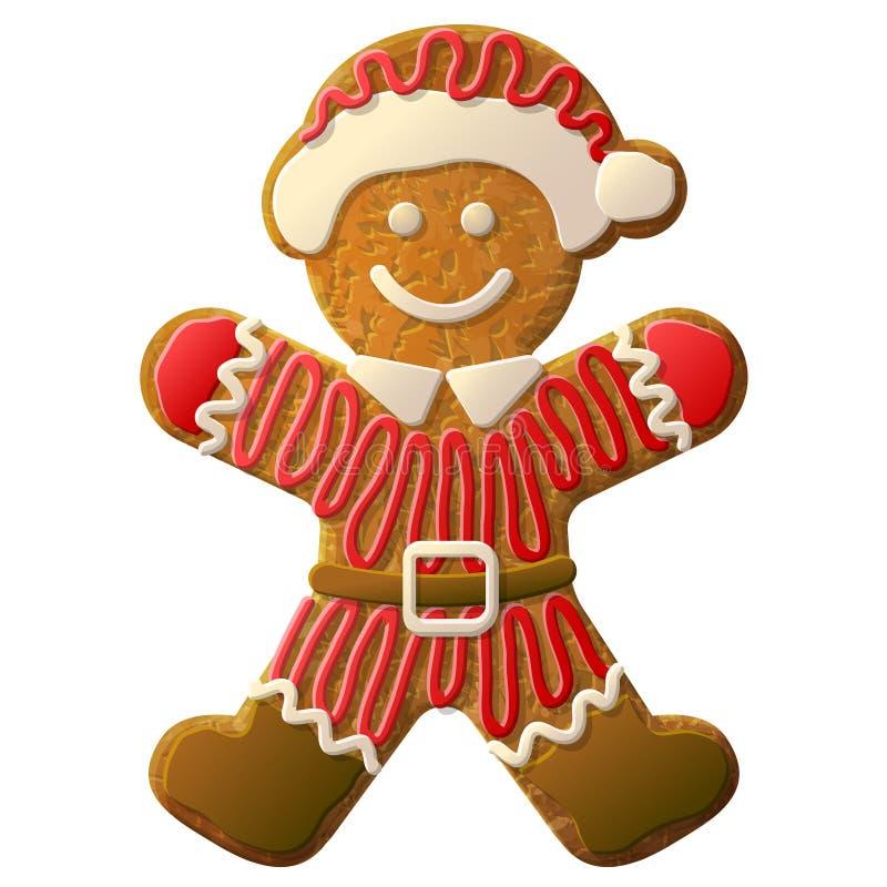 Bonhomme en pain d'épice habillé en costume de Santa Claus illustration stock
