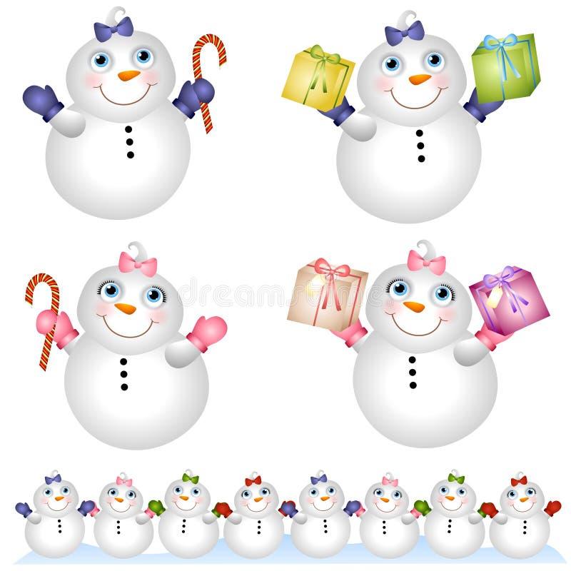Bonhommes de neige 2 de chéris de neige illustration stock