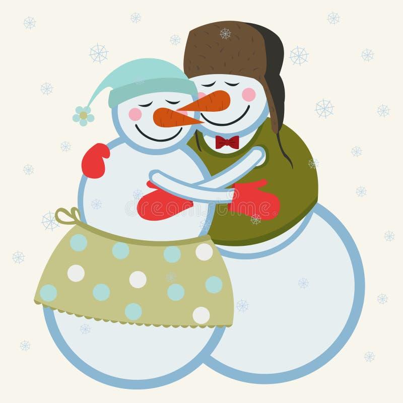 Bonhommes de neige d'amour illustration libre de droits