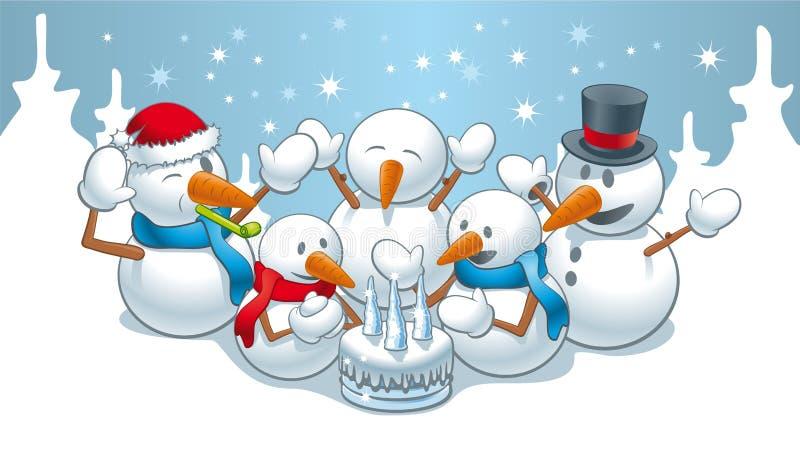 Bonhommes de neige d'anniversaire illustration de vecteur