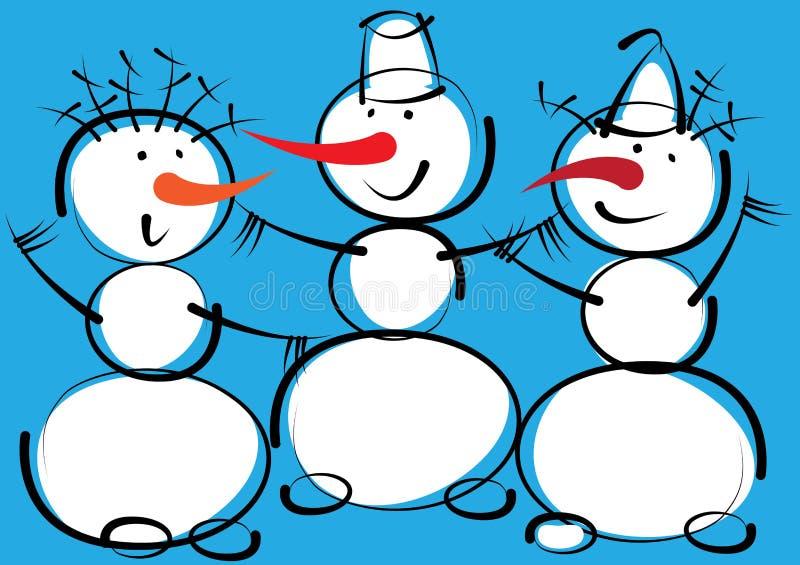Bonhommes de neige d'isolement sur un bleu illustration libre de droits