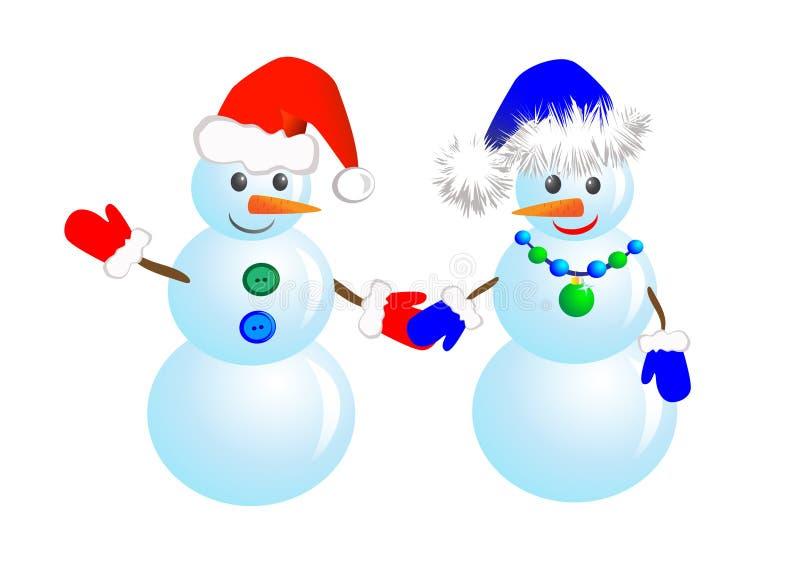 Bonhommes de neige de couples illustration de vecteur
