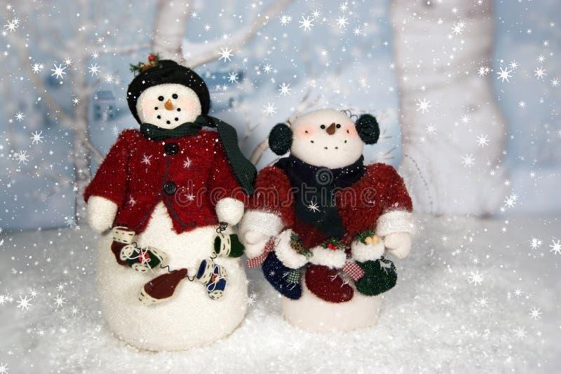 Bonhommes de neige de Noël photographie stock
