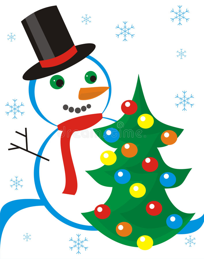 Bonhommes de neige et fourrure-arbre illustration de vecteur