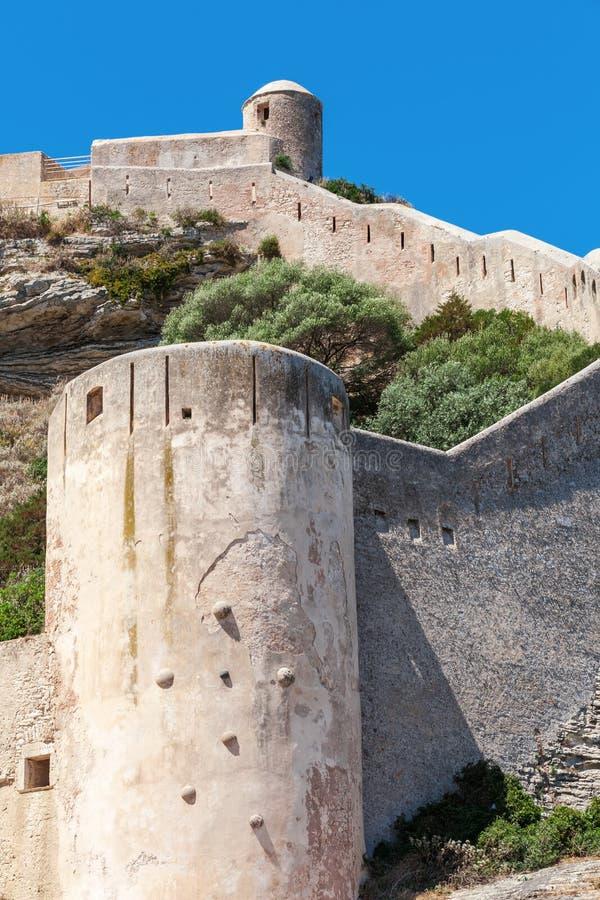 Bonifacio的城堡 可西嘉岛海岛,法国 免版税库存照片