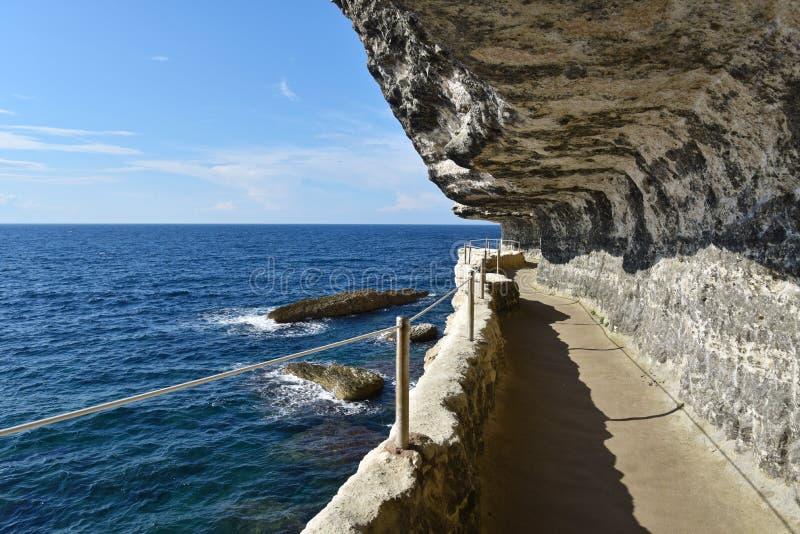 Bonifacio,可西嘉岛峭壁  图库摄影