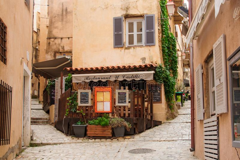 Bonifacio Alley Korsika royaltyfri foto