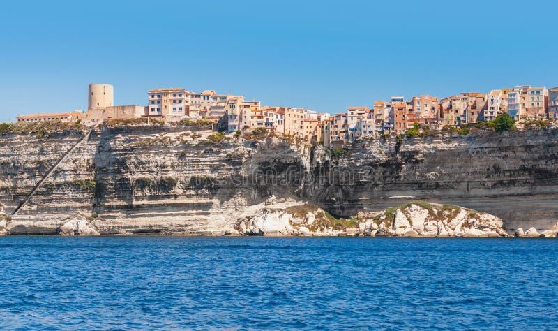 Bonifacio, bergachtig eiland Corsica, Frankrijk stock foto's