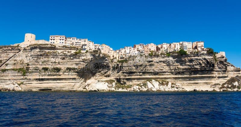 Bonifacio city, Corsica. Landscape of Bonifacio city, Corsica. Buildings and houses on cliff from sea view royalty free stock photos