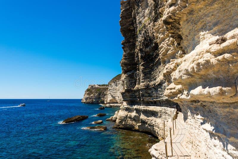 Bonifacio fästning Korsika arkivfoton