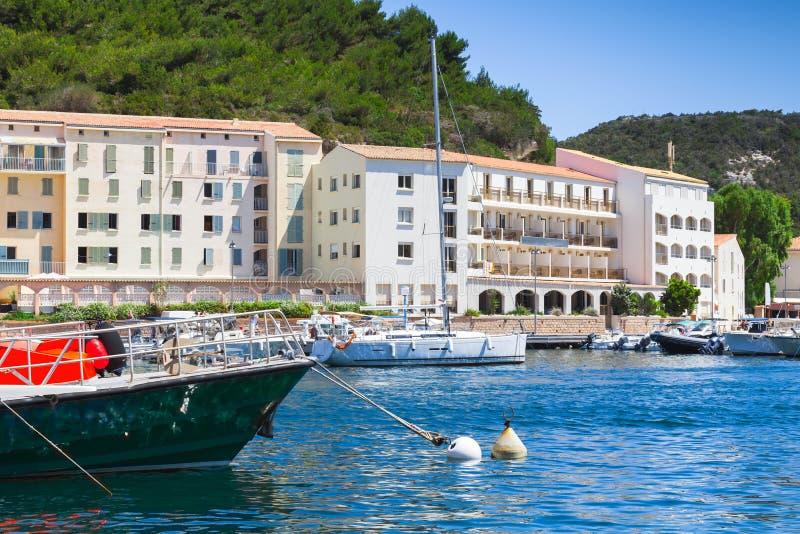 Bonifacio-Hafenansicht, Korsika, Frankreich lizenzfreies stockbild