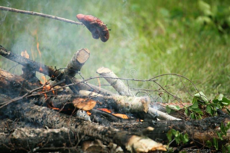 Bonifire campfire fire Flames steak on the BBQ