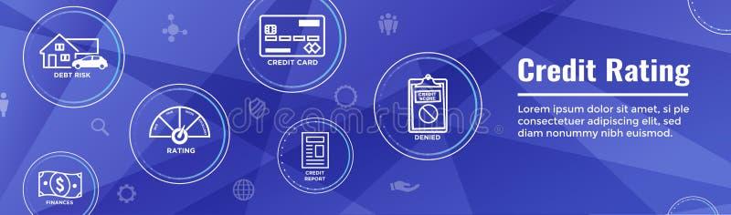 Bonitätsbeurteilungs-Titel-Netz-Fahne mit Schuld, Kreditkarte u. Kredit lizenzfreie abbildung