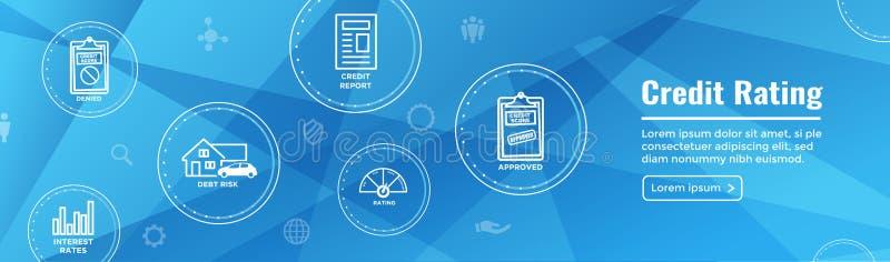 Bonitätsbeurteilungs-Titel-Netz-Fahne mit Schuld, Kreditkarte u. Kredit stock abbildung