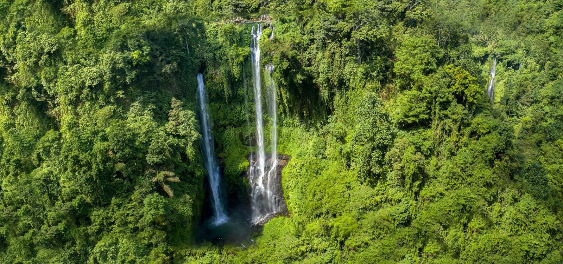 Bonito a cachoeira de Sekumpul em Bali, Indonésia Panorama imagens de stock royalty free